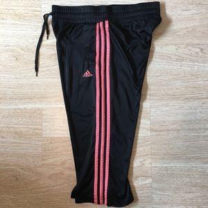 Adidas Cropped Track Pants 3 Stripe Navy Blue